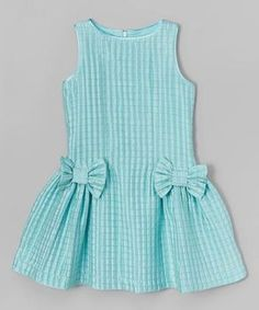 Loving this ValMax Aqua Check Bow Dress - Girls onGirls Lace Dress - Free WorldWide Shipping Gender: Girls Dresses Length: Knee-Length Silhouette: A-Line Collar: O-neck Sleeve Length: Half Decoration: Bow PattI want the pattern Girls Frock Design, Kids Frocks Design, Baby Frocks Designs, Baby Dress Design, Frocks For Girls, Little Dresses, Little Girl Dresses, Baby Girl Dress Patterns, Toddler Dress