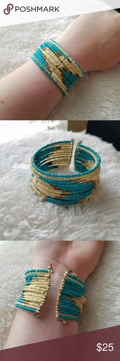 """IVORY GOLD TURQUOISE Handmade Cuff Bracelet Lovely colors on this western inspired bracelet. Cool colors that will work any time of year. 1.5"""" thick and 8"""" around with room. boho bohemian gypsy native american inspired gypsy southwestern turquoise jewelry women's fashion jewelry multi band Jewelry Bracelets"""