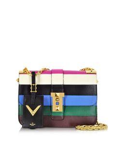 Valentino My Rockstud Blue & Multicolor Leather Chain Shoulder Bag