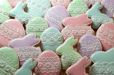Pastel and lace Easter egg and bunny cookies by Koronkowe Pierniczki