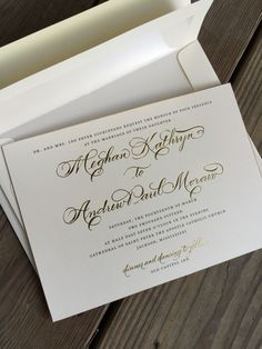 Wedding invitation with gold foil print + thermography, gilded edge.