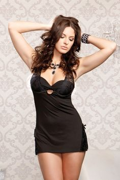 ICOLLECTION LACE + MICROFIBER BABYDOLL