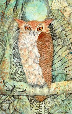 Whoo whooo Woke the Owl  Pen & acrylic inks, 2012 by Suzanne Gyseman