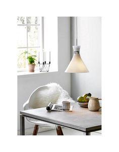 Hanglamp glas design wit met chroom E27