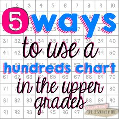 5 Ways to Use a Hundreds Chart in the Upper Grades - fantastic ideas on how to use a hundreds chart. Concepts include : multiplication, rounding, fractions, Math Teacher, Math Classroom, Teaching Math, Teaching Ideas, Creative Teaching, Math Strategies, Math Resources, School Resources, Elementary Math