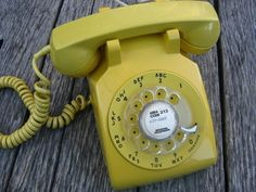 Vintage Yellow Rotary Dial Telephone
