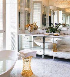 mirrored bathroom vanity