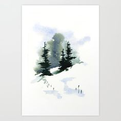 Snowy Hillside Watercolor Stationery Cards by invisible_explosions Watercolor Painting Techniques, Watercolor Canvas, Watercolor Trees, Easy Watercolor, Watercolor Landscape, Watercolor Paintings, Watercolor Postcard, Painted Christmas Cards, Watercolor Christmas Cards
