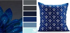 This Dew blue color palette with navy blue accents is simply divine. Great for a living room.
