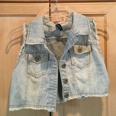 Cropped jean vest Awesome vintage find! Cropped denim vest with lace very hippe/ boho style, would look very cute with a summer dress. I'm always open to offers!! Very good condition Vintage Other