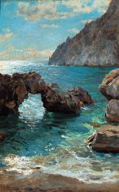 Augusto Lovatti Capri oil on canvas 19¾ x 12¾ in. (50.2 x 32.4 cm.)
