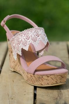 Southern Honey Wedge - Blush Crochet Wedges - Tan Summer Lace Wedges