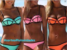 UUstar® Damen Push-Up Bademode Bikini Set Flirt Bandeau Tops und Neoprene Itsy Bottom (M), Pink) Bandeau Tops, Flounce Bikini, Bikini Swimwear, Bikini Push Up, Triangle Bikini, Bikini Volante, Bikini Rosa, Bikini Shop, Padded Swimsuits