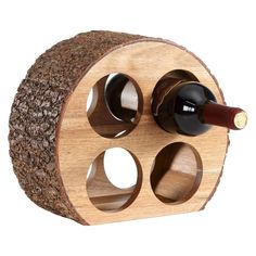 Danya B Round Four Bottle Wine Holder Acacia Wood with Bark, Brown