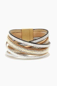 Metallic Silver Cuff Bracelet Adorned with Sparkling Rhinestones ☀