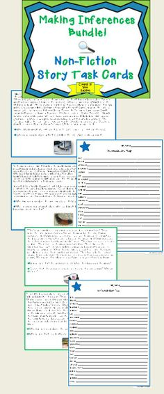 Fascinating and fun nonfiction story task cards to help your kids master Making Inferences. Two differentiated levels of information-filled, kid-friendly stories, questions, vocabulary lists and extension   for ALL of your students.  Lots of teacher support includes complete lesson plan, extension activities and more. $