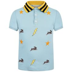 d10eee92056 Boys blue polo top by Gucci which has black and yellow striped knitted  collar