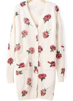 38f89165277 Shop Beige V Neck Rose Print Pockets Cardigan online. SHEIN offers Beige V  Neck Rose Print Pockets Cardigan   more to fit your fashionable needs.
