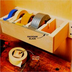 Make a DIY Tape Dispenser for Your Workshop - one for him in the new garage and one for me in the new craft room Organisation Hacks, Garage Organization, Garage Storage, Tool Storage, Storage Ideas, Organized Garage, Organizing Ideas, Workshop Storage, Duct Tape Storage