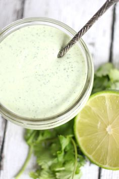 This Simple Cilantro Garlic Sauce recipe is inspired by Pollo Tropical. It only takes seconds to make and you'll want to put it on ever. Vitamix Recipes, Sauce Recipes, Cooking Recipes, Copycat Recipes, Easy Recipes, Diet Recipes, Chutneys, Baked Chicken, Chicken Recipes