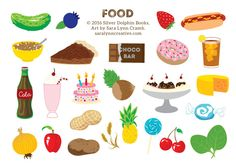 """US foods from """"Sticker Road Trip: 50 States""""."""