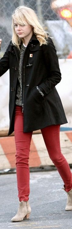 Who made Emma Stone's black coat and tan suede boots that she wore in New York? Coat – Fay  Shoes – Isabel Marant