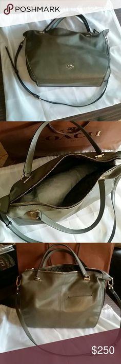 Coach handbag Olive green. EXCELLENT condition. Has a detachable shoulder strap. Come with dustbag. Medium/Large in size. coach Bags Satchels