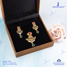 Get in touch with us on 990 444 3030 Antique Jewellery Designs, Gold Earrings Designs, Gold Jewellery Design, Antique Jewelry, Gold Rings Jewelry, Diamond Jewelry, Fine Jewelry, Pendant Set, Diamond Pendant