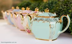 Teapots from The Vintage Table Perth. Photo by Peggy Saas Photography.