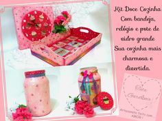 Artesanato em mdf e vidro com decoupage de cupcake para decoração de cozinhas