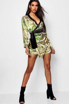 Stefflon Don Scarf Print Wrap Satin Dress