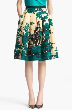Oscar de la Renta Print Silk & Wool Jacquard Skirt available at #Nordstrom