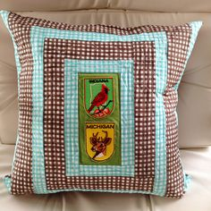 My girl @lishdorset made a couple rad log cabin baby pillows using vintage patches. #thesewingparty #repurpose #diy #maderemade #babygifts