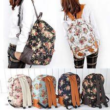 New Girl Cute Vintage Canvas Flora School Book Campus Backpack Bag 4 Colors