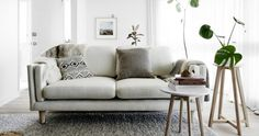 Scandi-inspired timber and marble furniture designed in Melbourne - The Interiors Addict White Armchair, White Sofas, Marble Furniture, Furniture Design, Living Room Sets, Living Spaces, Ikea, 5 Seater Sofa, Clean Sofa