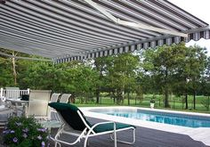 "Retractable Awnings now come with ""pitch adjustment"" feature which allow you to raise or lower the front bar to meet your needs. Perfect for the porch or patio facing south or west."