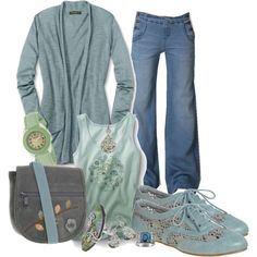 love all the muted blues of this outfit! so pretty