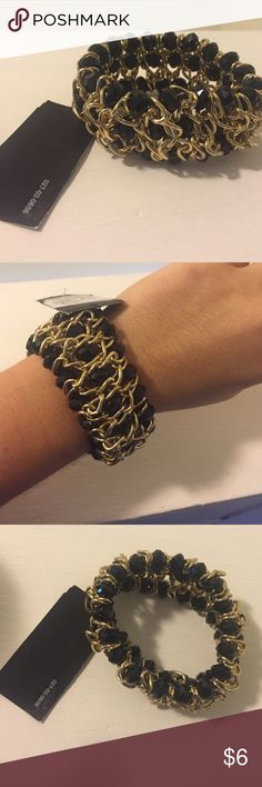 Black and Gold Bracelet, New with tags Brand new black beaded gold accent bracelet, heavy with good quality. I have something similar as this is my exact style, which is the reason I'm selling Jewelry Bracelets
