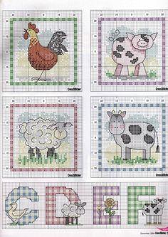 Gingham alphabet pg. 2 plus cute farm animals.   Gallery.ru / Photo # 44 - 2 - KIM-3