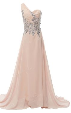 Beading Crystal Sequined Pleated Floor Length Chiffon Champagne One Shoulder Sleeveless Long Prom Dress
