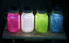 Sparkly mason outdoor lights- DIY All you need is mason jars, solar light, pledge floor care, and glitter.