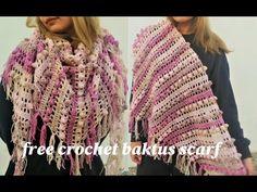 Εύκολη Πλεξη για Γαλλικο Κασκόλ ή ευκολο μπακτους με βελονακι crochet baktus scarf - YouTube Poncho Shawl, Crochet Shawl, Diy And Crafts, Crochet Patterns, Knitting, Accessories, Knit Scarves, Youtube, Stitches