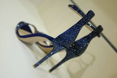 #Gianvito Rossi, blue satin and Swarowski Crystal sandal with stiletto heel. From Spring Summer 2014. www.wunderl.com
