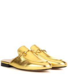 07f22dd543b2c Mules en cuir doré Sapatos Gucci, Chinelos De Couro, Couro Dourado, Sistema  De