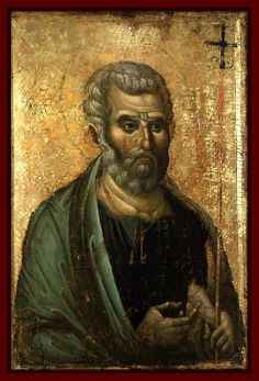 Saint Peter, beautiful late Byzantine icon in Macedonian style, third quarter of the 13th century.  Now at The Dumbarton Oaks Byzantine Collection, Washington D.C., USA. (How it got there, so far away from the country of origin, I have no clue.)
