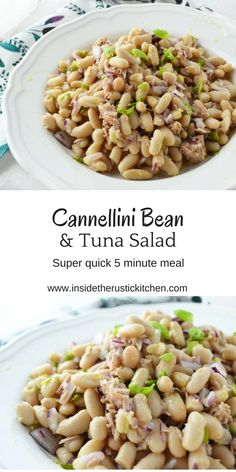 White Bean Salad Cannellini bean and tuna salad. Super simple, 5 minute meal that is so delicious, perfect for summer.Cannellini bean and tuna salad. Super simple, 5 minute meal that is so delicious, perfect for summer. Healthy Meals To Cook, Healthy Food List, Healthy Diet Recipes, Healthy Eating, Healthy Nutrition, Diet Meals, Tuna Recipes, Seafood Recipes, Salad Recipes
