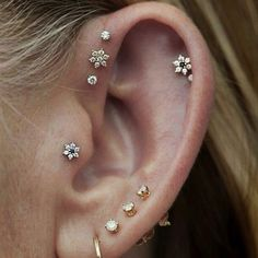 Image result for three piercing ear