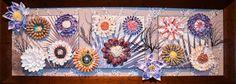 """Flowers from the beach"", mixed media seashell mosaic, decorative focal point, 49"" x 18"". Alla Baksanskaya.  https://www.etsy.com/listing/195682428/original-mixed-media-seashell-mosaic?ref=listing-0"