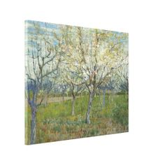 Pink Orchard by Vincent Van Gogh Stretched Canvas Prints, high resolution #artwork printed on glossy cotton-poly blend #canvas wrapped onto wood stretcher frame. #VanGogh #wrappedcanvas