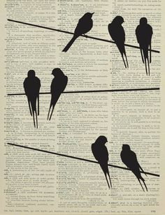 Bird silhouettes printed on a page from an antique dictionary. $7.99, via Etsy.